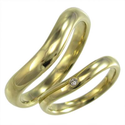 ペアリング マリッジリングにも V字 メンズ 4月誕生石 天然ダイヤモンド 18金ゴールド 約0.02ct (ホワイト イエロー ピンク)