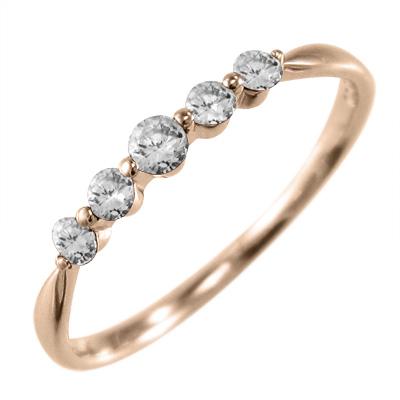ハーフ エタニティ 指輪 レディース 4月誕生石 天然ダイヤモンド 10kゴールド 約0.15ct (ホワイト イエロー ピンク)