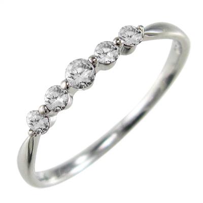 ハーフ エタニティー リング レディース 4月誕生石 天然ダイヤモンド k10ゴールド 約0.15ct (ホワイト イエロー ピンク)