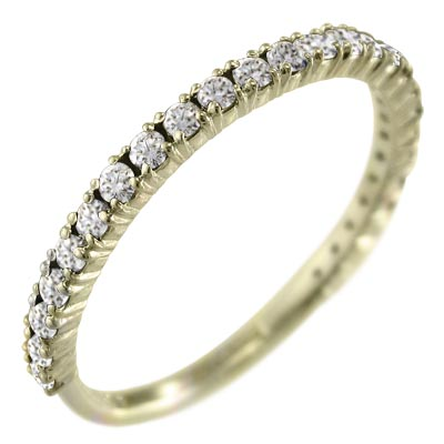 ハーフ エタニティー リング レディース 4月誕生石 天然ダイヤモンド 10kゴールド 約0.36ct (ホワイト イエロー ピンク)