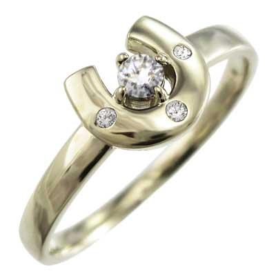 リング 馬蹄 レディース 4月誕生石 天然ダイヤモンド 10kゴールド 約0.14ct (ホワイト イエロー ピンク)