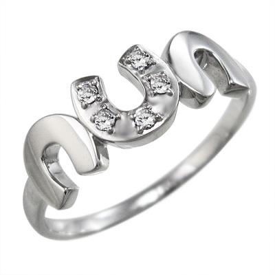 リング/馬蹄/レディース/4月誕生石/天然ダイヤモンド/白金(プラチナ)900/約0.06ct