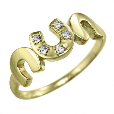 指輪 馬蹄 ジュエリー メンズ 4月誕生石 天然ダイヤモンド k10ゴールド 約0.06ct (ホワイト イエロー ピンク)