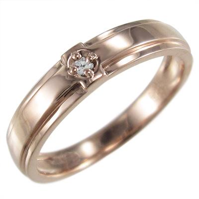 指輪 クロスヘッド レディース 4月誕生石 天然ダイヤモンド ゴールドk18 約0.02ct (ホワイト イエロー ピンク)