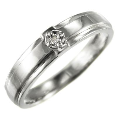 ピンキーリング ブライダルリング クロス メンズ 4月誕生石 天然ダイヤモンド プラチナ900 約0.02ct