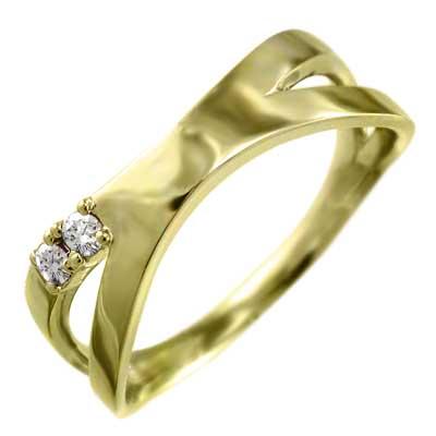 平打ちリング クロス レディース 4月誕生石 天然ダイヤモンド 10金ゴールド 約0.07ct 変形リング エックス型 (ホワイト イエロー ピンク)