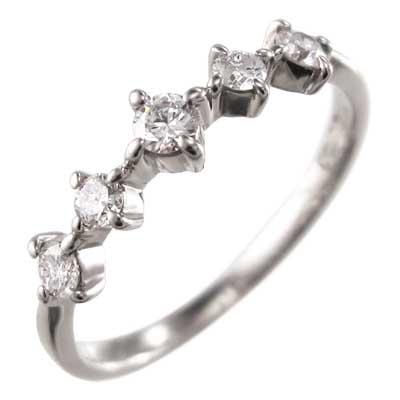 ハーフ エタニティリング メンズ 4月誕生石 天然ダイヤモンド プラチナ900 約0.18ct