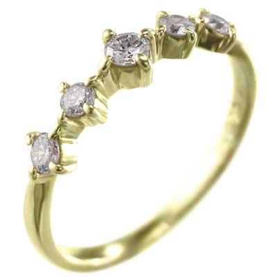 ハーフ/一文字/リング/レディース/4月誕生石/天然ダイヤモンド/18kゴールド/約0.18ct (ホワイト イエロー ピンク)