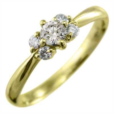 リング レディース 4月誕生石 天然ダイヤモンド ゴールドk18 約0.15ct (ホワイト イエロー ピンク)