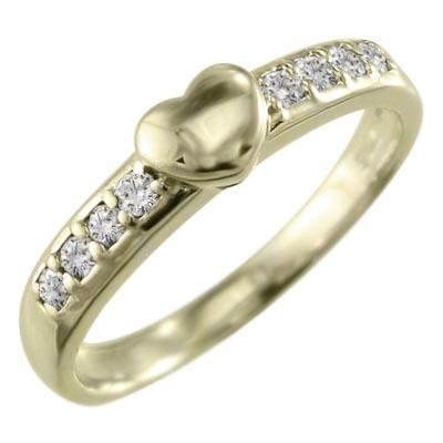 リング ハート レディース 4月誕生石 天然ダイヤモンド 18金ゴールド 約0.11ct (ホワイト イエロー ピンク)