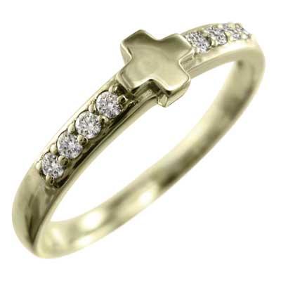 リング クロス レディース 4月誕生石 天然ダイヤモンド ゴールドk18 約0.11ct (ホワイト イエロー ピンク)
