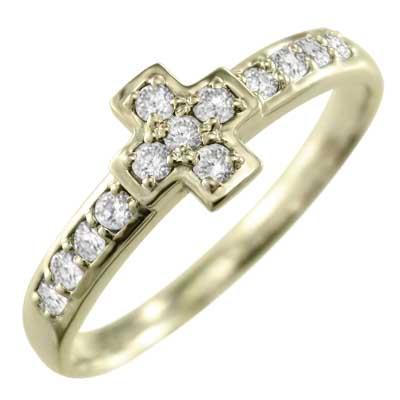 指輪 クロス デザイン レディース 4月誕生石 天然ダイヤモンド 18kゴールド 約0.18ct (ホワイト イエロー ピンク)