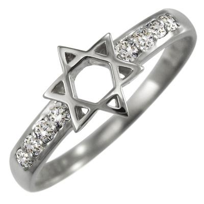 指輪 六芒星 レディース 4月誕生石 天然ダイヤモンド 白金(プラチナ)900 約0.11ct