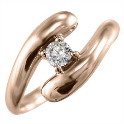 リング スネーク レディース 4月誕生石 天然ダイヤモンド k10ゴールド 約0.10ct (ホワイト イエロー ピンク)