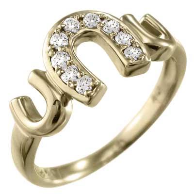 指輪 蹄鉄型 レディース 4月誕生石 天然ダイヤモンド 18金ゴールド 約0.12ct (ホワイト イエロー ピンク)