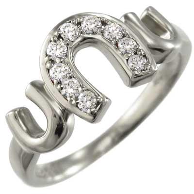 指輪 ラッキーアイテム馬蹄 レディース 4月誕生石 天然ダイヤモンド 白金(プラチナ)900 約0.12ct