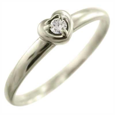 指輪 レディース ハート 型 レディース 4月誕生石 天然ダイヤモンド ゴールドk10 約0.03ct (ホワイト イエロー ピンク)
