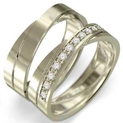 ペアの指輪 平打ちのリング メンズ 4月誕生石 天然ダイヤモンド 10kゴールド (ホワイト イエロー ピンク)