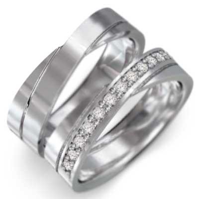 ペア 指輪 平たい リング メンズ 4月誕生石 天然ダイヤモンド Pt900