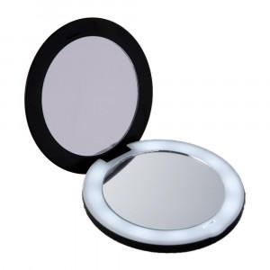10倍拡大鏡コンパクト2面ミラー ライト付 送料無料 10倍拡大鏡と等倍鏡のコンパクト2面ミラーです 拡大ミラー 折りたたみ 化粧鏡 メール便 メイクアップミラー 手鏡 70%OFFアウトレット 出荷 携帯用