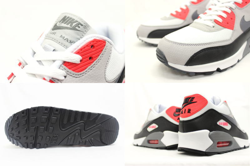 NIKE AIR MAX 90 ESSENTIAL white X gray X red 537,384 108 Kie Ney AMAX essential infrastructure red