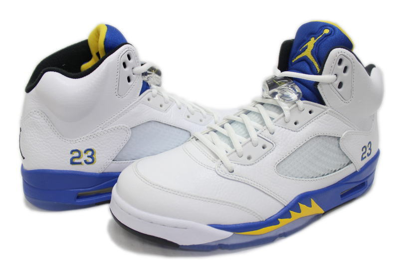 online store c06ef 70076 5 136,027-189 NIKE AIR JORDAN RETRO LANEY nike Air Jordan 5 nostalgic  Rainey white X blue X yellow