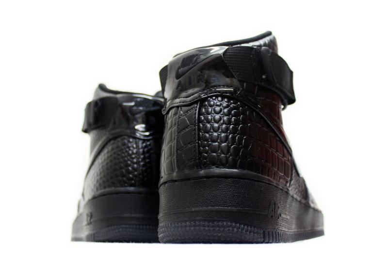 NIKE WMNS AIR FORCE 1 HI PRM CROCODILE 654,440 001 Nike women Air Force One high PREMIUM premium crocodile black