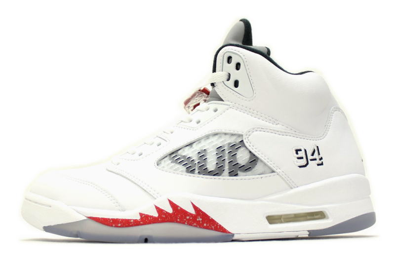 96aaa86d8235 NIKE AIR JORDAN 5 RETRO SUPREME WHITE 824371-101 Nike Air Jordan 5 retro  Supreme white