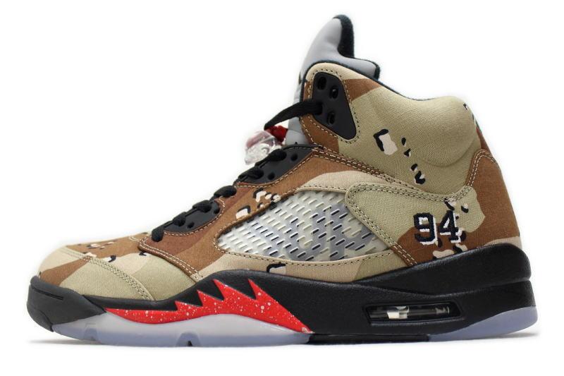 Nike Air Jordan 5 Retro Supreme Desert Camo 824371 201 Camouflage