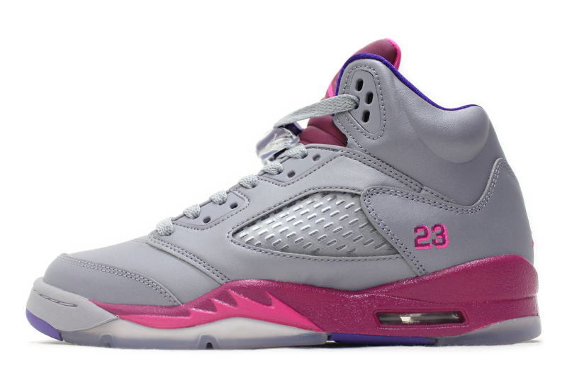 e8442a54c NIKE GIRLS AIR JORDAN 5 RETRO GS-GREY PINK 440892-009 grey pink GS Womens