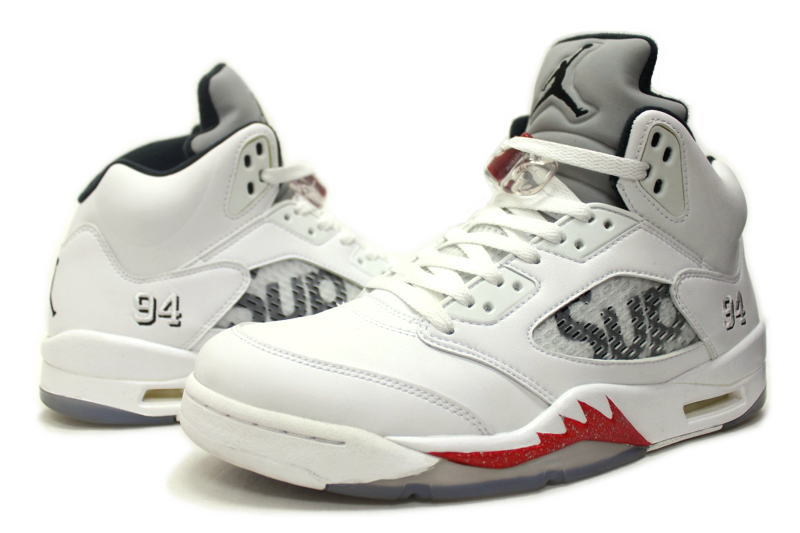 on sale ed12b 2bc76 NIKE AIR JORDAN 5 RETRO SUPREME WHITE 824371-101 Nike Air Jordan 5 retro  Supreme white