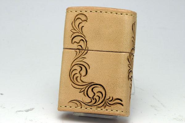 ZIPPO[ジッポー]革巻リーズ Leather Works CHAOS(レザーワークスカオス) LWC(Z)唐草(三面)