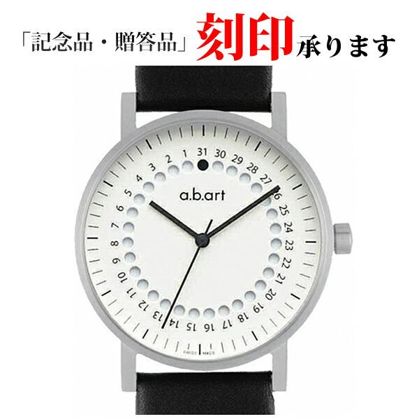 エービーアート 腕時計 O-101W 黒レザー メンズ ホワイト 【長期保証3年付】