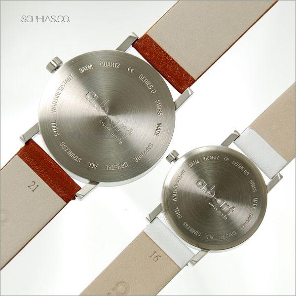 ペアウォッチ エービーアート O-101&OS-101 ペア腕時計 茶×白 レザー 【長期保証3年付】