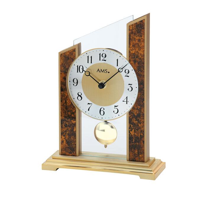 【正規輸入品】ドイツ アームス AMS 1172 クオーツ 置き時計 (置時計) 振り子つき ブラウン×ゴールド 【記念品 贈答品に名入れ(銘板作成)承ります】【熨斗印刷承ります】