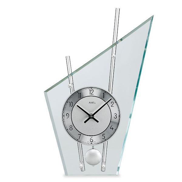 【正規輸入品】ドイツ アームス AMS 153 クオーツ 置き時計 (置時計) 振り子つき シルバー 【記念品 贈答品に名入れ(銘板作成)承ります】【熨斗印刷承ります】[送料区分(大)]
