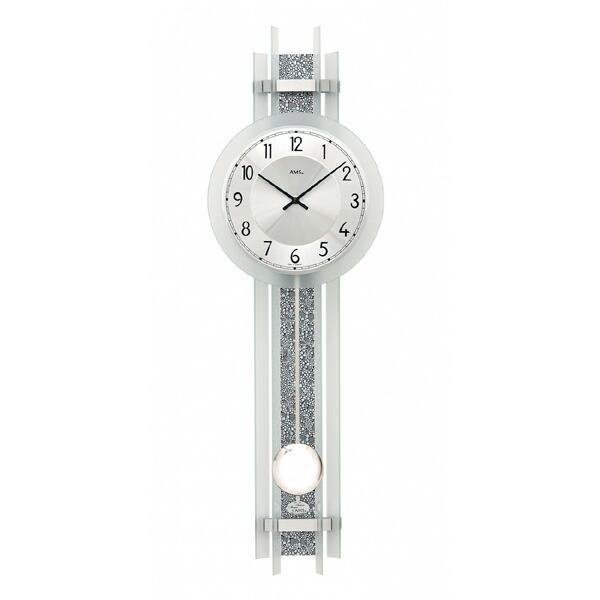 【正規輸入品】ドイツ アームス AMS 7260 クオーツ 掛け時計 (掛時計) 振り子つき シルバー 【記念品 贈答品に名入れ(銘板作成)承ります】【熨斗印刷承ります】[送料区分(大)]