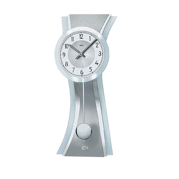 【正規輸入品】ドイツ アームス AMS 7268 クオーツ 掛け時計 (掛時計) 振り子つき シルバー 【記念品 贈答品に名入れ(銘板作成)承ります】【熨斗印刷承ります】[送料区分(大)]