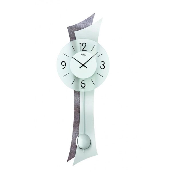 【正規輸入品】ドイツ アームス AMS 7426 クオーツ 掛け時計 (掛時計) 振り子つき シルバー 【記念品 贈答品に名入れ(銘板作成)承ります】【熨斗印刷承ります】[送料区分(大)]