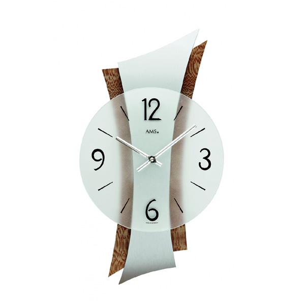 【正規輸入品】ドイツ アームス AMS 9401 クオーツ 掛け時計 (掛時計) シルバー×ブラウン 【記念品 贈答品に名入れ(銘板作成)承ります】【熨斗印刷承ります】[送料区分(大)]