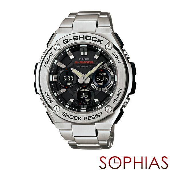 カシオ Gショック GST-W110D-1AJF 腕時計 Gスチール シルバー 電波ソーラー 【長期保証10年付】