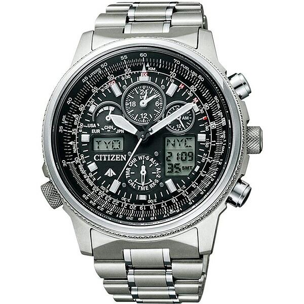シチズン プロマスター PMV65-2271 スカイ エコ・ドライブ 電波時計 ジェットセッター クロノグラフ ブラック メンズ腕時計 【長期保証5年付】