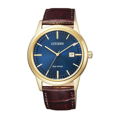 シチズン コレクション AW1232-21L エコ・ドライブ フレシキブルソーラー ブルー カーフ革 メンズ腕時計 【長期保証5年付】