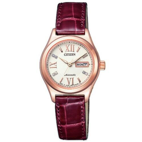 シチズン CITIZEN コレクション メカニカル 自動巻 ピンクゴールド ワニ革 レディース腕時計 PD7162-04A 【長期保証5年付】
