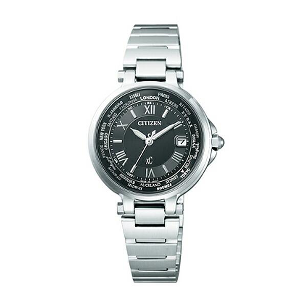 シチズン クロスシー EC1010-57F CITIZEN XC エコドライブ 電波時計 ハッピーフライト シルバー×ブラック レディース腕時計 【長期保証5年付】