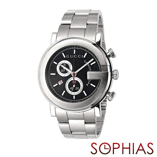 グッチ 腕時計 YA101309 101 クロノグラフ ブラック メンズ 【長期保証8年付】