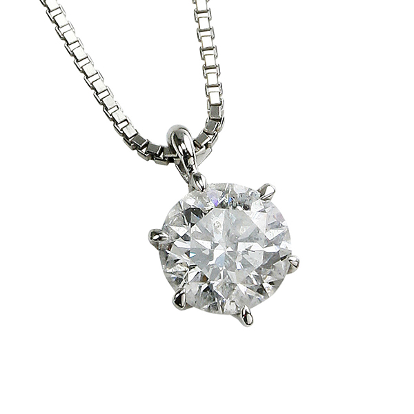 プラチナ ダイヤモンド ネックレス 1カラット 大粒 一粒 Pt900 1.0ct 6本爪 Hカラー SI2 GOOD スライドチェーン 鑑定書付き ds-2-323710