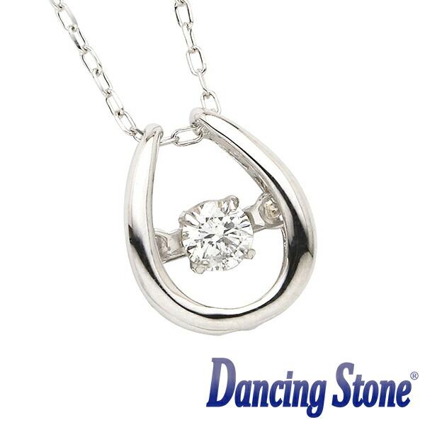 揺れるダイヤ ダイヤモンド ネックレス ダンシングストーン 0.08カラット 一粒 ホワイトゴールド K18 0.08ct スウィングネックレス 馬蹄(ばてい) ds-24-586352