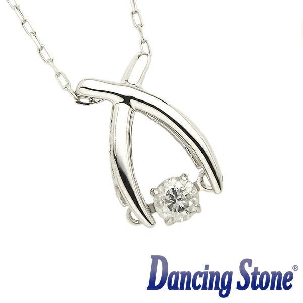 揺れるダイヤ ダイヤモンド ネックレス ダンシングストーン 0.08カラット 一粒 ホワイトゴールド 1粒 K18 0.08ct スウィングネックレス リボン ds-27-586361