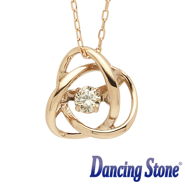 揺れるダイヤ ダイヤモンド ネックレス ダンシングストーン 0.08カラット一粒 ピンクゴールド K18 0.08ct スウィングネックレス メビウス ds-32-694876